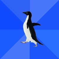 Социально-дезориентированный пингвин шаблон мемгенератора