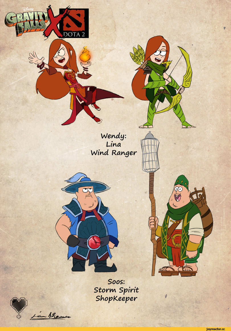 Soos: Storm Spirit ShopKeeper Wendy: Lina Wind Ranger,Dota,фэндомы,Gravity Falls,Dota Crossover,Dipper Pines,GF Персонажи,Mabel Pines,gruncle stan,ford,Wendy Corduroy,Soos Ramirez,Rubick the Grand Magus,Purist Thunderwrath the Omniknight,Riki the Stealth Assassin,Mirana the Princess of the