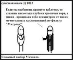 """cynicmansion.ru (с) 2013 Если ты выберешь красную таблетку, то узнаешь насколько глубока кроличья нора, а синяя - прописана тебе психиатром от твоих мучительных галлюпинапий по фильму """"Матри Сложный выбор Михаила."""