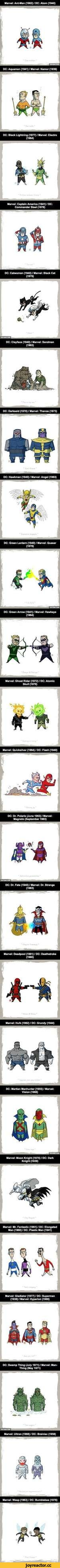 Marvel: Ant-Man (1962) / DC: Atom (1940) EU DC: Aquaman (1941) I Marvel: Namor (1939) Marvel: Captain America (1941) / DC: Commander Steel (1978) DC: Catwoman (1940) / Marvel: Black Cat (1979) MKKCW DC: Clayface (1940) / Marvel: Sandman (1963) DC: Darkseid (1970) / Marvel: Thanos (1973) D