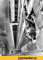 Plane Hits Empire State Building,News,,July 28 1945 - A US Army B-25 bomber crashes into the Empire State Building between the 78th and 79th floors. An engine plunges down an elevator shaft, sparking a fire in the basement. Eleven people in the building are killed, in addition to the three man