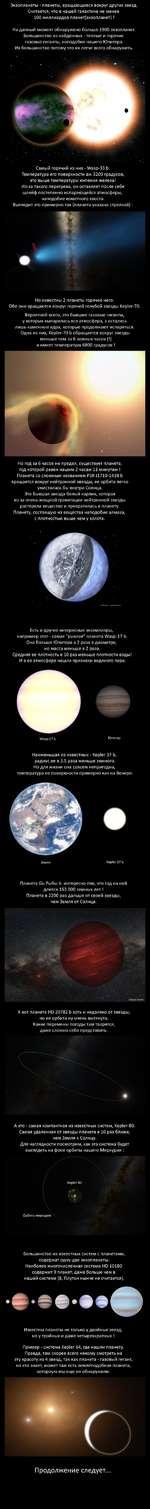 Экзопланеты - планеты, вращающиеся вокруг других звезд. Считается, что в нашей галактике не менее 100 миллиардов планет(экзопланет) ! На данный момент обнаружено больше 1900 экзопланет. Большинство из найденных - теплые и горячие газовые гиганты, наподобие нашего Юпитера. Их большинство потому чт
