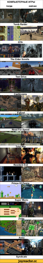 КОМПЬЮТЕРНЫЕ ИГРЫ тогда сейчас Tomb Raider The Elder Scrolls Test Drive Castlevania Fallout Need For Speed Total War Resident Evil Prince Of Persia Super Mario Anno Syndicate