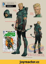 No logo on chest. Goatee. -No other facial hair. Bronze-colored armor. Black pants. Previous N52 design D GREEN ARROW Design by Otto Schmidt DC COMICS' VERSION 1.0 Illustration by Otto Schmidt