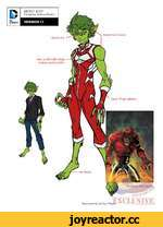 "D DC COMICS"" BEAST BOY Design by Jonboy Meyers VERSION 1.1 Green iris. Red outfit with white stripes and accents. Green hair & skin. Illustration by Jonboy Mey< EXCLUSIVE,"