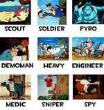 SCOUT SOLDIER PYRO DEMOMAN HEAVY ENGINEER MEDIC SNIPER SPY