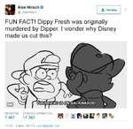 Alex Hirsch O @_AlexHirsch FUN FACT! Dippy Fresh was originally murdered by Dipper. I wonder why Disney made us cut this? А* Читать 17:22 - 2 июн. 2017 г. Los Angeles. CA