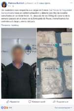 Patricia Bullrich добавил(-а) 2 новых фото. 8ч • Un ciudadano ruso despacha sus valijas en Ezeiza. La Policía de Seguridad Aeroportuaria hace un control exhaustivo y detecta casi 4kg de cocaína camuflados en un doble fondo. Sí, después de los 389kg de cocaína de la semana pasada en el anexo de la