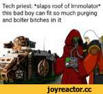 Tech priest: *slaps roof of Immolator* this bad boy can fit so much purging and bolter bitches in it