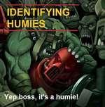 I IDENTIFYING \ i -mi. Yep boss, it's a humie! 1 K // / / > — / k/# « Y f * % M