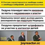 В России гарантируются свобода слова и свобода собраний. Доказательства: Госдума планирует ввести наказание за посты с «неуважением к власти» Навальному грозит арест за отказ удалить расследование про коррупцию Медведева Госдума предлагает штрафовать за участие в митингах детей