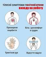 TinecHi симптоми noiii'iiioi атаки виходу на роботу Прискорене сецебиття Бшь i дискомфорт в грудях