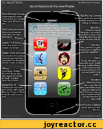"""The Joy of Tech by Nitrozac & Snaggy Secret features of the new iPhone. Front Facing Camera Automatically starts ] recording when people """"find"""" your iPhone in a J bar.I ^ Top Facing Camera Accurate, up-to-the-second weather prediction and 